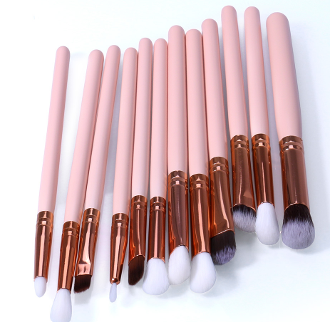 O.TWO.O 12pcs Eye Brushes Set Make up Tool Kit For Eyes Eye Liner Shader natural-synthetic hair
