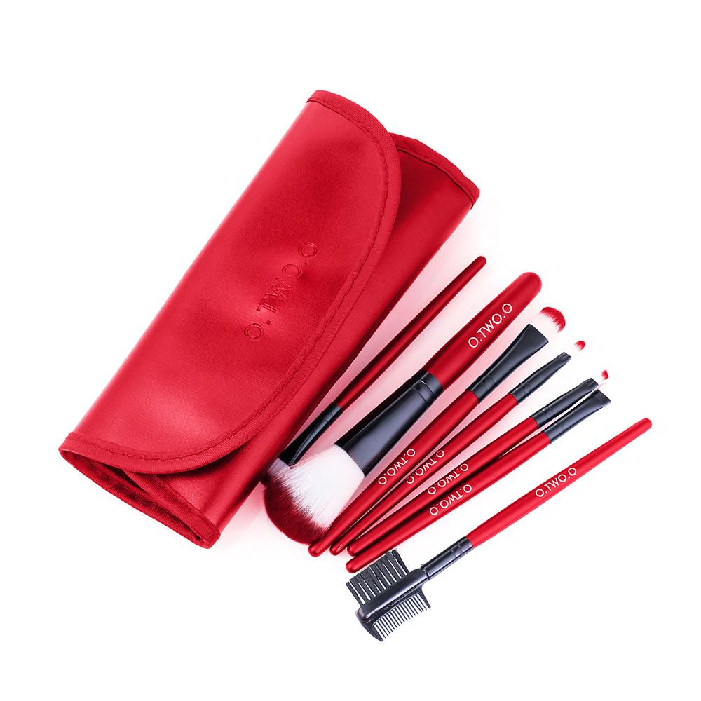 O.TWO.O 7pcs/lot Cosmetics Brush Set Beauty Eye Primer Powder Blush Brush PU Leather Case Send Random
