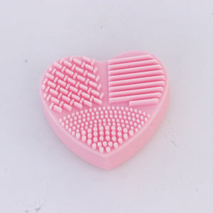Colorful Heart Shape Clean Make up Brushes Washboards Brush Silica Glove Scrubber Board Cosmetic Cleaning Tools