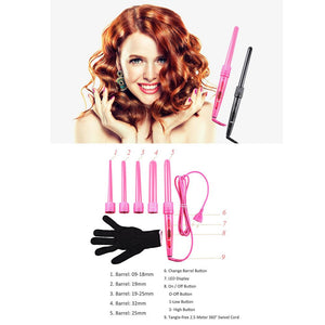 5 Part Interchangeable Hair Curling Iron Machine Ceramic Hair Curler Multi-size Roller Heat Resistant Glove Styling Set