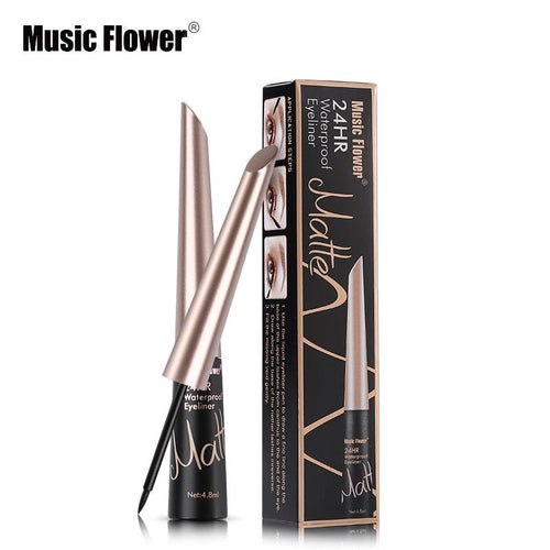 Music Flower Brand Waterproof Liqiud Eyeliner Pencil 24H Long-lasting Matte Eye Liner Delineador Black Eyelid Quick-Dry Makeup