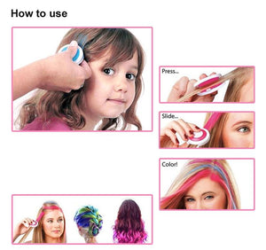 Hair Dying Chalk Temporary Hair Powder Soft Salon Hair Color DIY Salon 4 Colors optional one time use