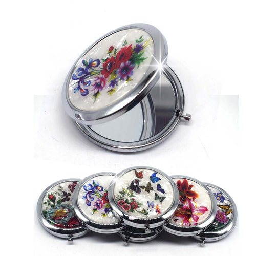 Mini Makeup Compact Pocket Mirror Flower Butterfly Bamboo Metal Portable Two-side Folding Makeup Mirror