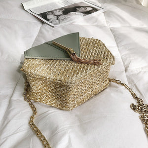 Hexagon Mulit Style Straw+leather Handbag Women Summer Rattan Bag Handmade Woven Beach Circle Bohemia Shoulder Bag