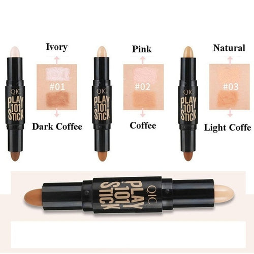 Double Head 3D Bronzer Highlighter Stick Face Makeup Concealer Pen Foundation Stick Cream Texture Contour Pencil