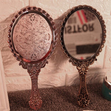 Load image into Gallery viewer, Creative Retro Pattern Handle Makeup Mirror Portable Hand-held Cosmetic Mirrors