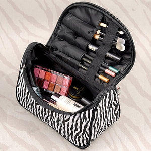 Women Lady Makeup Cosmetic Case Toiletry Bag Zebra Travel Handbag Organizer
