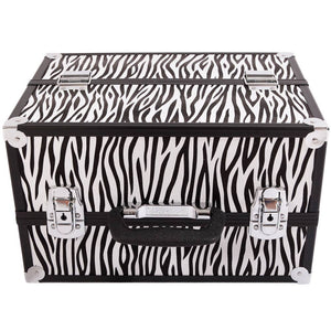 SM-2083 Aluminum Alloy Makeup Storage Box Train Case Jewelry Box Organizer White Zebra Stripe
