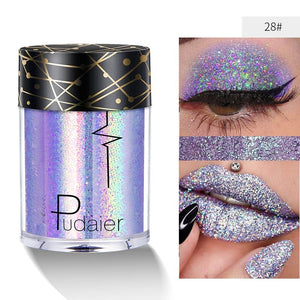Pudaier Glitter Lip Loose Powder Shimmer Lip Tint Holographic Face eyeshadow Nails Shade Makeup Nude Pigment Festival Diamond Make Up