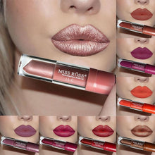 Load image into Gallery viewer, MISS ROSE Glitter Liquid Lipstick Matte Waterproof Long Lasting Lip Gloss Blue Purple Wine Red Color Shimmer LipGloss Makeup Tools