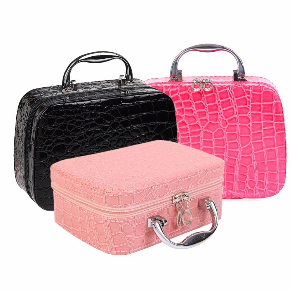 Pro Makeup Storage Bag Case Jewelry Box Cosmetic Organizer PU leather Organizer Women Cosmetic Cases for Outdoor Travel