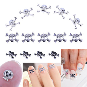 10pcs Nail Art Decoration Skull Shape Metal UV Gel Polish Glitter 3D Rhinestone Design Halloween Charm Jewelry Manicure Tool