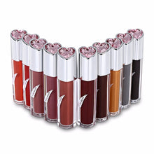 Load image into Gallery viewer, KISS BEAR 10 colors Liquid Lipstick Lip Glaze Nonstick Cup Liquid Lipstick Makeup Kit with Heart Shape Rhinestone On Cover