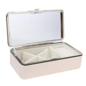 Simple PU Jewelry Storage Box Portable Earrings Ring Organizer Case Portable Makeup Jewelry Container Gifts Box Organizer