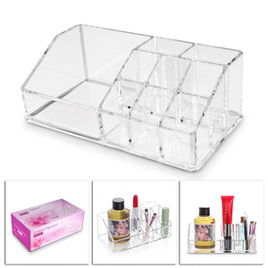 LemonBest Acrylic Cosmetic Storage Box Holder 9 Cells Makeup Organizer Storage Box Makeup Cotton Container Holder