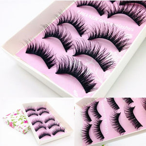 5 Pairs Fashion Natural Handmade Long False Black Eyelashes Makeup