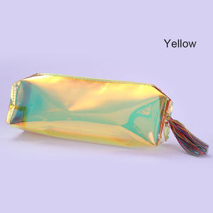 Holographic Makeup Cosmetic Empty Bag Colorful Transparent Organizer Case Toiletry Pouch Storage Zipper Handbag