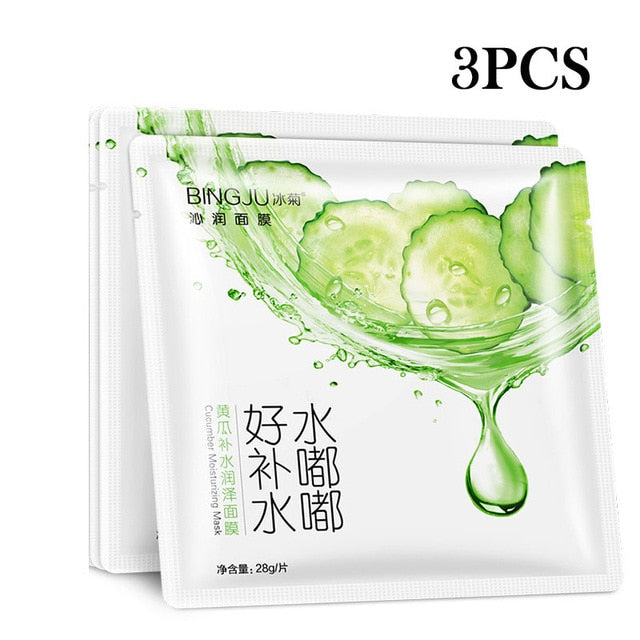 2017 New Bing Ju Brand Skin Care Wrapped Oil-control Mask for Women Men Whitening 3pcs Cucumber Moisturizing Face Masks