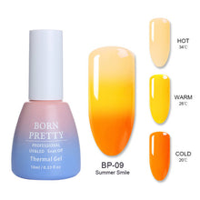 Load image into Gallery viewer, BORN PRETTY 3 Colors Thermal Nail Gel Polish 10ml Temperature Color Changing Soak Off UV Gel Lacquer Manicure Nail Art Varnish