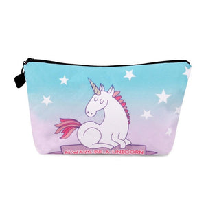 FENGRISE Unicorn Cosmetic Bags 3D Printing Girls Lady Makeup Bags Unicorn