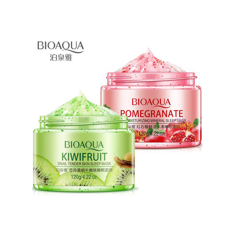 BIOAQUA Sleeping Face Mask Cream 120g No Wash Pomegranate Kiwif fruit Snail Soothing Gel Night Cream Skin Care for Moisturizing