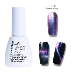 BORN PRETTY Holographic Chameleon Cat Eye Nail Gel 5ml Magnetic Soak Off UV Gel Manicure Nail Art Varnish Black Base Needed