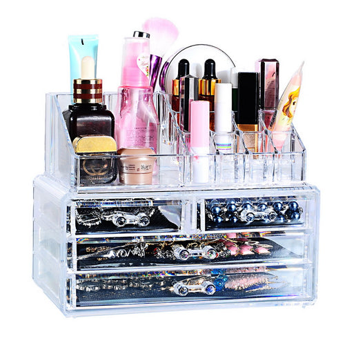 Hoomall 4 Layer Acrylic Plastic Jewelry Box Makeup Organizer Casket Drawer Storage Box Holder Home Bathroom Cosmetic Container