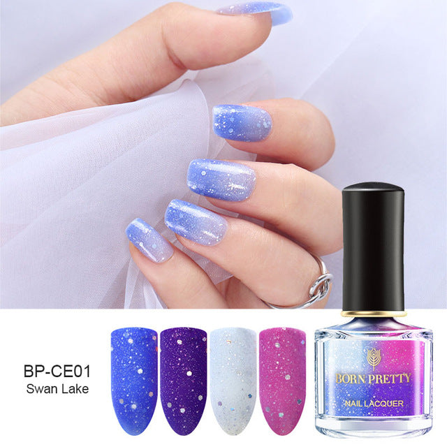 BORN PRETTY Color Changing Nail Polish 6ml Champs Elysees Series Peel Off Sunlight Sensitive Thermal Nail Polish