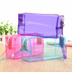 Fashion Women Transparent PU Pencil Cosmetic Bag Storage Simple Zipper Makeup Bag Tools Accessories Large Capacity Beauty Simple