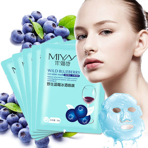 Hyaluronic Acid Full Face Mask Moisturizing Sheet Mask for Face Care Skin Care Wild Blueberry Face Mask Whitening Anti-aging