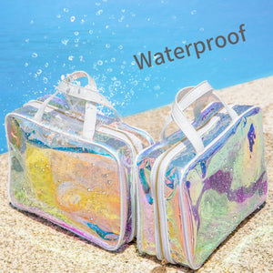 Holographic Rainbow Jelly Cosmetic Makeup Bag Holo Laser Waterproof Beauty Storage Bag for Women AB Color Transparent Purse Makeup Kits