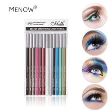 Load image into Gallery viewer, 12 colors Professional Matte Lip Eye Liner Pencil Set Waterproof Long Lasting Eyeliner Pencil Makeup Cosmetic Tools