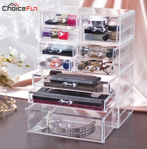 CHOICE FUN Fancy Large Plastic Transparent Cosmetics Makeup Box Case Clear Make Up Desk Drawer Storage box