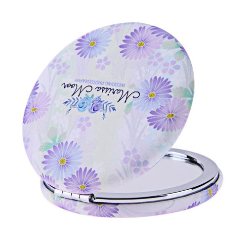 Portable Metal Folding Makeup Mirror Round Double-sided Cosmetic Mirror