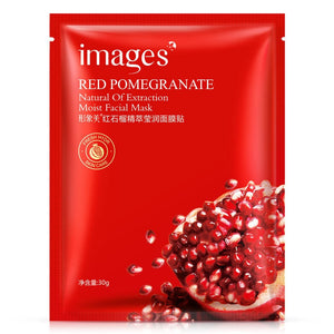 5Pcs Images Red pomegranate Facial Mask Smooth Moisturizing Oil Control Shrink Pores Face Mask Wrapped Mask Skin Care