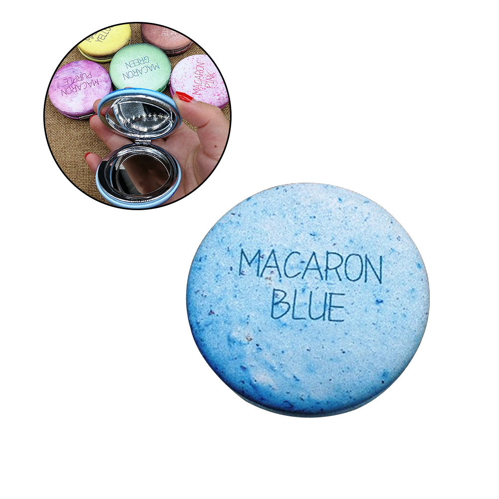 Mini Pocket Macaron Compact Mirror Round Folding Mirror Leather Mirror