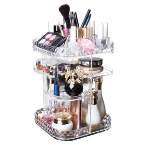 Diamond Transparent Design Clear 360 Degree Rotation Desktop Storage Box Organizer Multi-functional Makeup Beauty Organizer