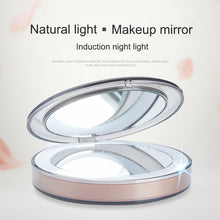 Load image into Gallery viewer, LED Lighted Mini Makeup Mirror 3X Magnifying Compact Travel Portable Sensing Lighting Makeup Mirror FM88