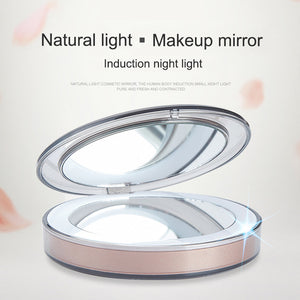 LED Lighted Mini Makeup Mirror 3X Magnifying Compact Travel Portable Sensing Lighting Makeup Mirror FM88