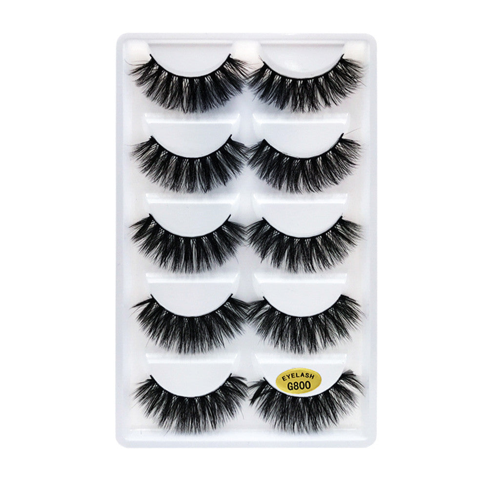 5 Pairs 3D False Eyelashes Invisible Band Natural Long Black Eyelash Full Strip Reusable
