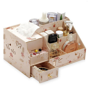 Hoomall Wood Drawer Organizer Cosmetic Storage Organizer Box Casket  DIY Wooden Storage Box Makeup Organizer Jewelry Container
