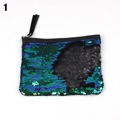 New Fashion Makeup Bag Two sided Sequin Handbag Coin Purse