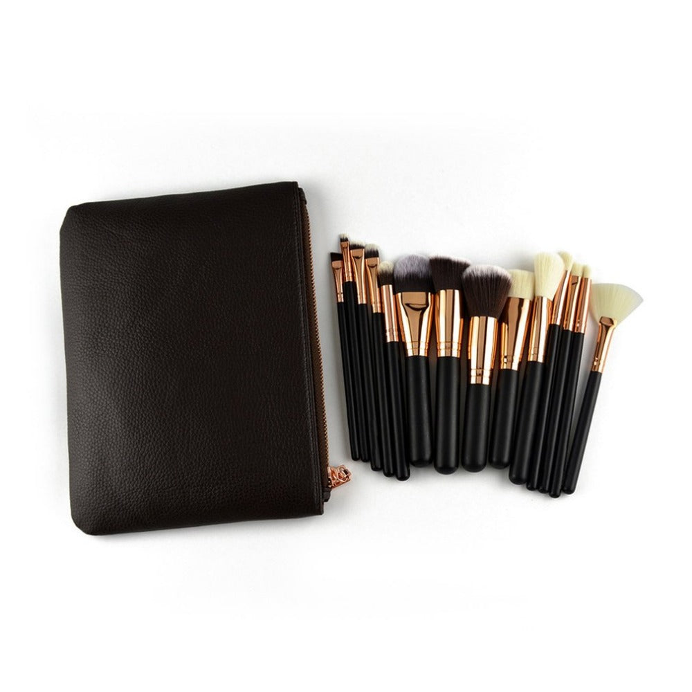 15PCS/SET Cosmetic Makeup Brushes Set Professional Wooden Handle Eyeshadow Eyeliner Lip Make up Brush Tool Kit
