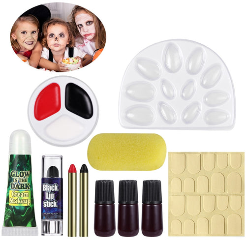 UNOMOR Halloween Makeup Kit Glow in the Dark Costume Horror Makeup Palette Pallet Tray
