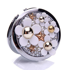 500pcs Wedding Party Favor Gift For Guests Bridesmaid Bling Crystal Rhinestone Flower Beauty Makeup Compact Pocket Mirror ZA1308