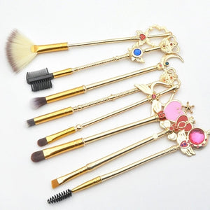 Fashion Makeup Brushes 8 PCS Metal Handle Cosmetic Brush Professional Brushes Set Portable Makeup Accessories 2018 HOT NEW