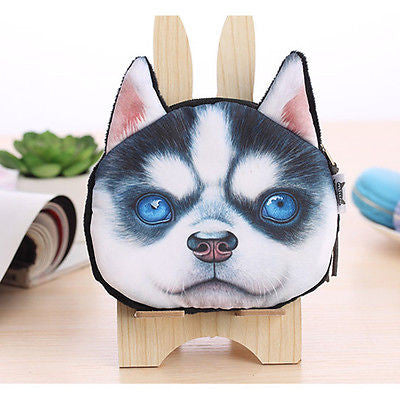 New Kids Cute Dog Face Zipper Case Coin Womens Purse Wallet Makeup Bag Pouch  makeup