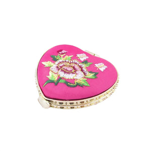 Mini Pocket Compact Portable Embroidered Mirror Round Mirror Looking Glass Makeup Tools