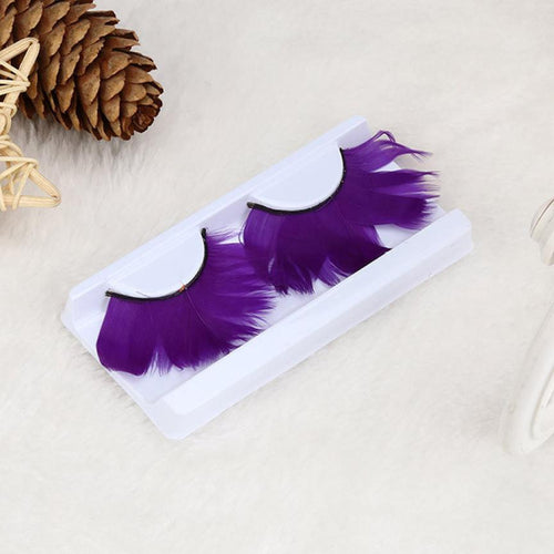 High Quality Women Fancy Soft Long Feather False Eyelashes Eye Lashes Makeup Stage Feather  Purple Makeup Tools 2018 July31