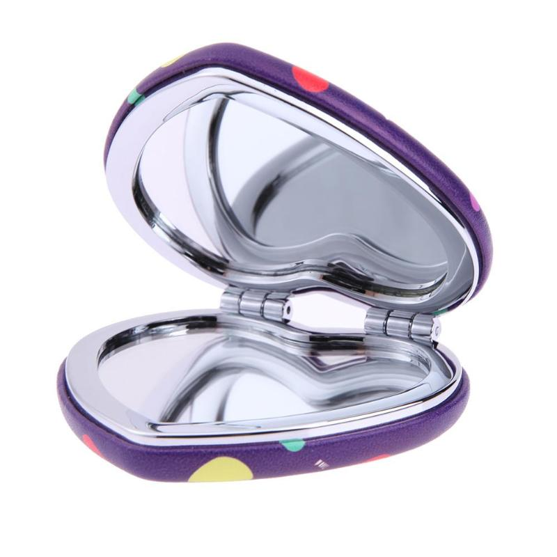 2 Side Heart Shape Folding Cosmetic Mirror Iron Leather Magnify Makeup Tool